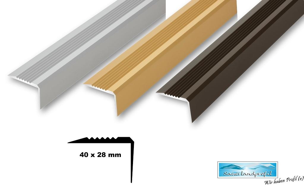 9,29€//m 40 x 28 mm Treppenwinkel Profil stabil bronze gebohrt//ungebohrt ≤1,50m